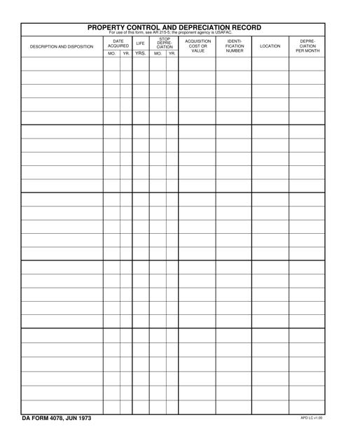 DA Form 4078 Printable Pdf