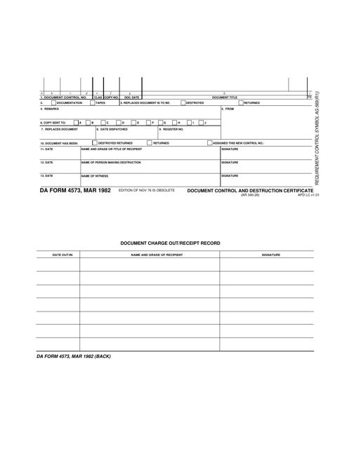 DA Form 4573 Printable Pdf