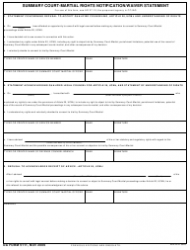 DA Form 5111 Summary Court - Martial Rights Notification/Waiver Statement