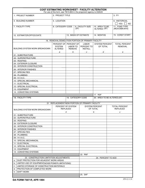 DA Form 7307-r  Printable Pdf