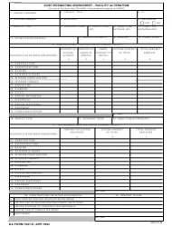 DA Form 7307-r Cost Estimating Worksheet - Facility Alteration