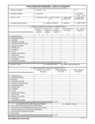 DA Form 7307-r Cost Estimating Worksheet - Facility Alteration