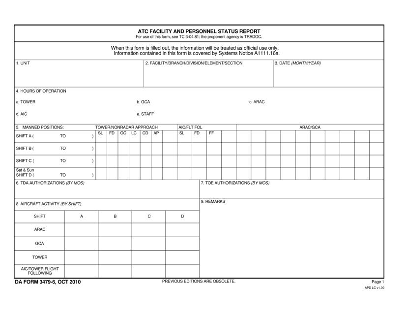 DA Form 3479-6  Fillable Pdf