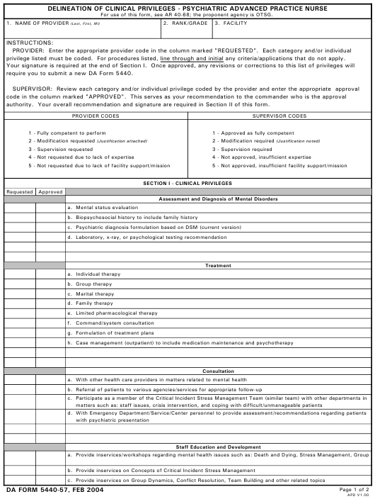 Da Form 5440 57 Download Printable Pdf Delineation Of