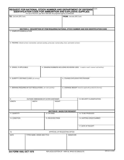 DA Form 1669 Printable Pdf