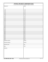 DA Form 5520 Physical and Dental Comparison Chart