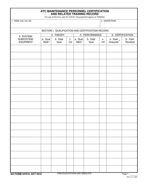DA Form 3479-9 Fillable Pdf