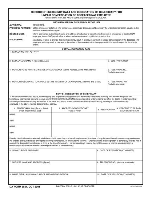 DA Form 5521  Fillable Pdf