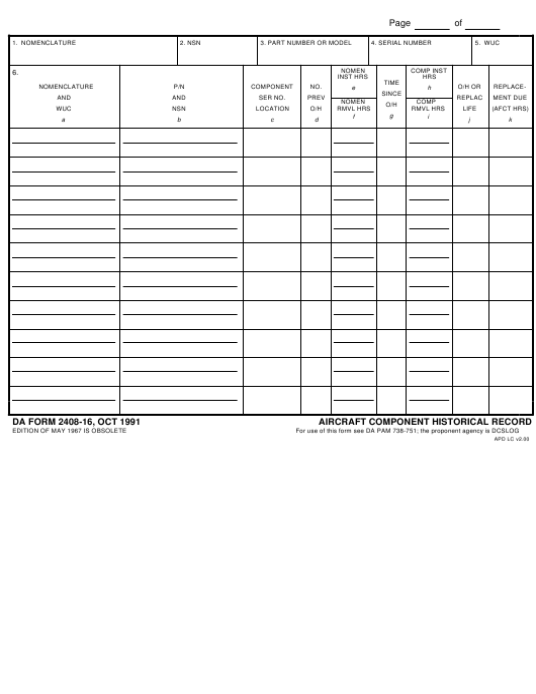 DA Form 2408-16 Fillable Pdf
