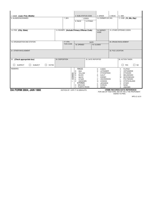 DA Form 2804  Printable Pdf