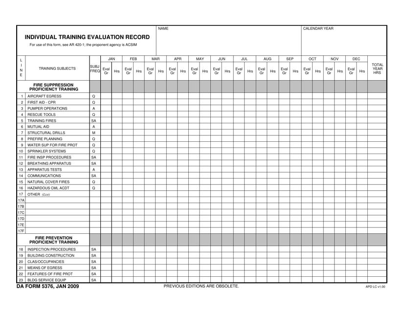 DA Form 5376 Printable Pdf