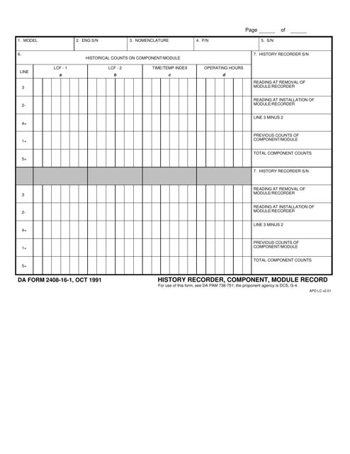 DA Form 2408-16-1  Printable Pdf
