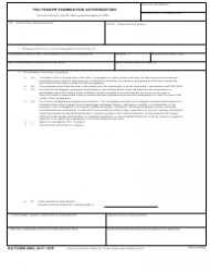 DA Form 2805 Polygraph Examination Authorization