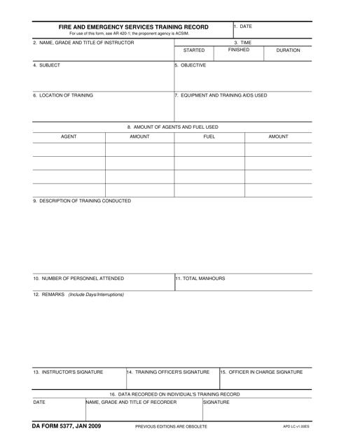 DA Form 5377 Printable Pdf