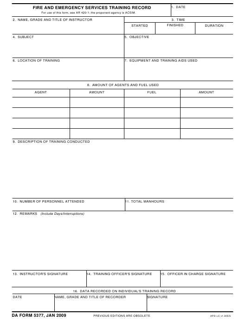 DA Form 5377 Fillable Pdf