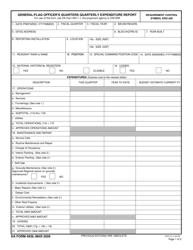 DA Form 4939 General/Flag Officer's Quarters Quarterly Obligations Report