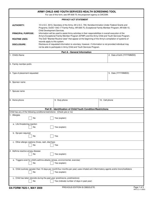 DA Form 7625-1 Fillable Pdf