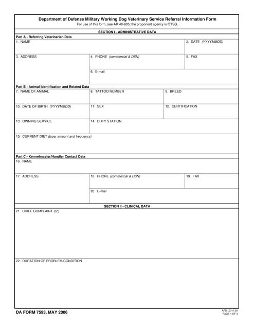 DA Form 7593 Fillable Pdf