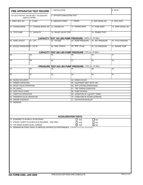 DA Form 5380 Fillable Pdf