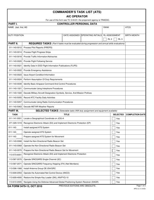 DA Form 3479-13 Download Fillable PDF, Commander's Task List