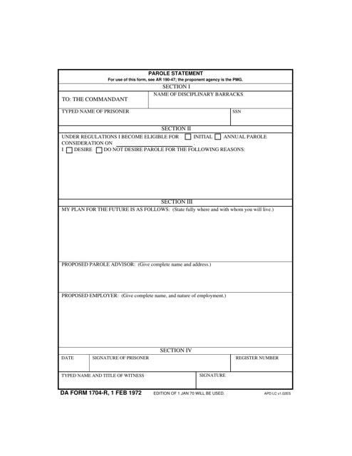 DA Form 1704-r Fillable Pdf