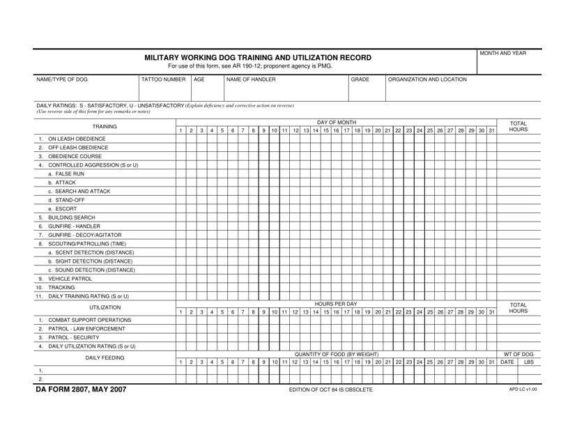 DA Form 2807  Printable Pdf