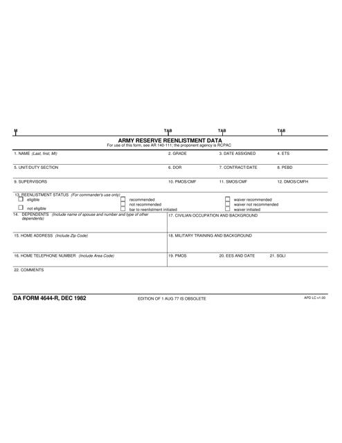 DA Form 4644-r Printable Pdf