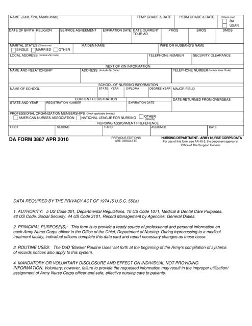 DA Form 3887 Fillable Pdf