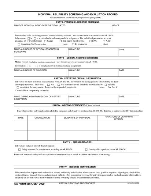 DA Form 5557 Fillable Pdf