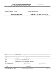 DA Form 5382 Hazard/Deficiency Inspection Record