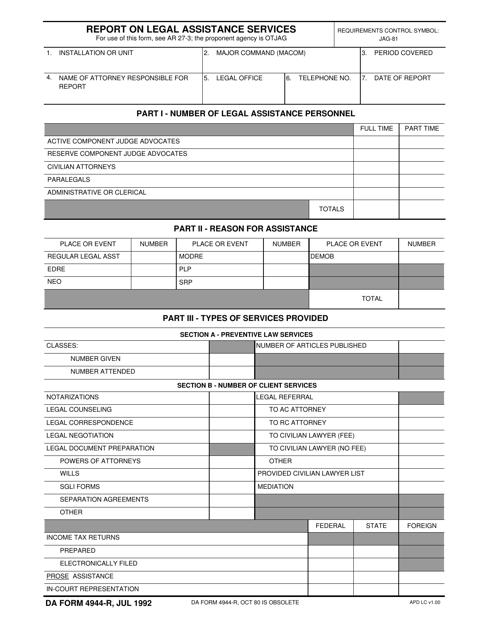 DA Form 4944-r  Printable Pdf