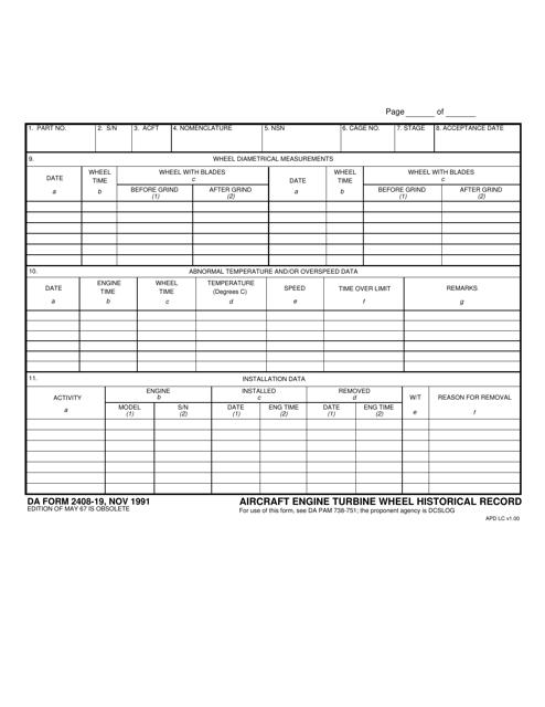 DA Form 2408-19 Fillable Pdf