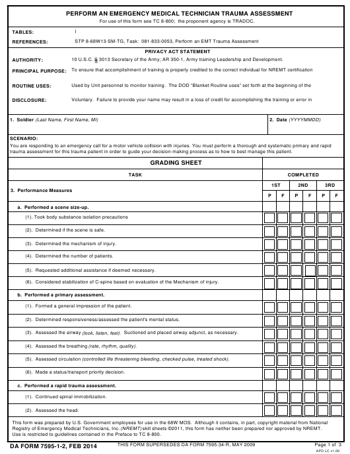 DA Form 7595-1-2 Fillable Pdf