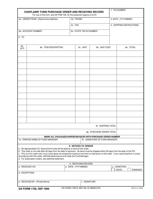 DA Form 1756 Fillable Pdf