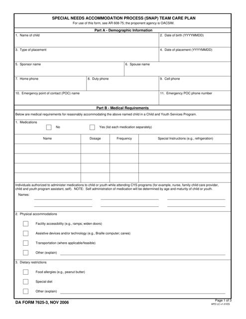 DA Form 7625-3 Fillable Pdf
