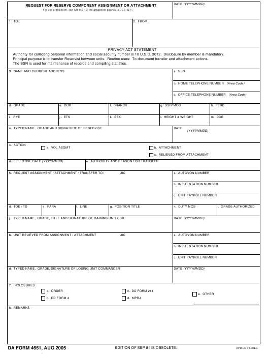 DA Form 4651 Fillable Pdf
