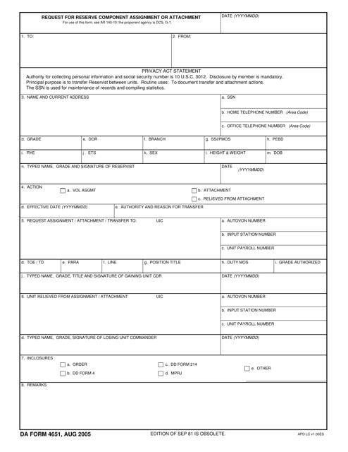 DA Form 4651 Fillable Pdf