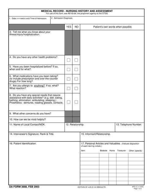 DA Form 3888  Printable Pdf