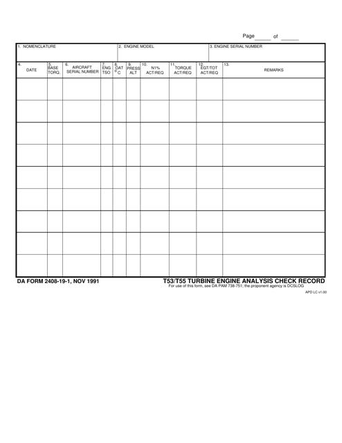 DA Form 2408-19-1  Printable Pdf