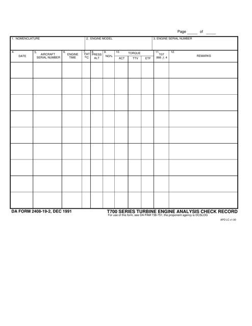 DA Form 2408-19-2 Fillable Pdf