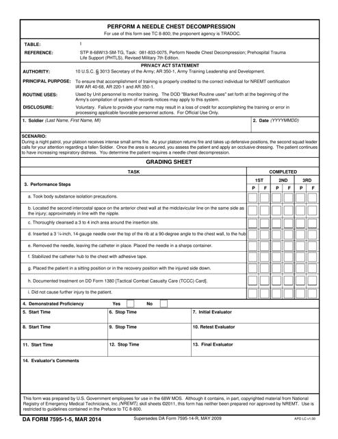 DA Form 7595-1-5 Fillable Pdf