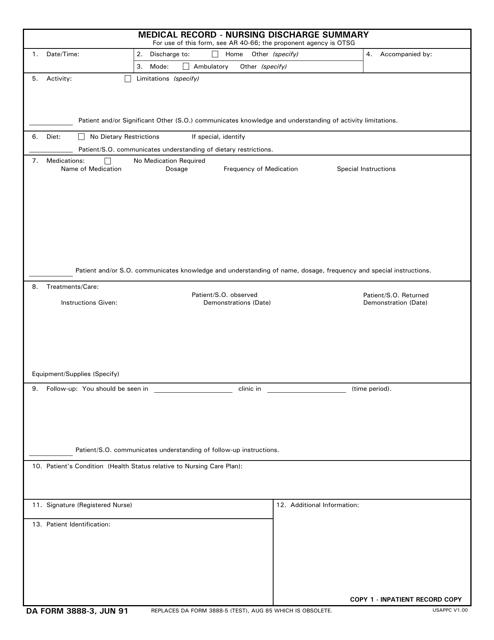DA Form 3888-3 Printable Pdf