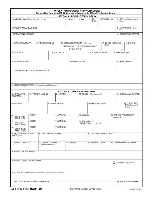 DA Form 4107  Printable Pdf