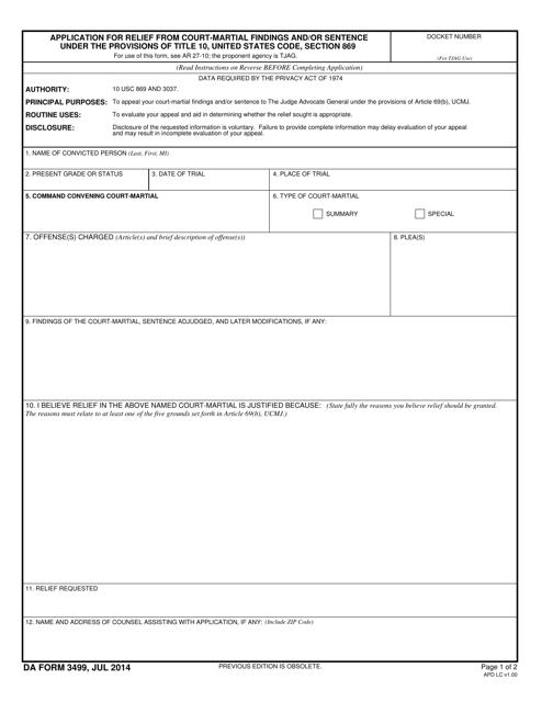DA Form 3499 Fillable Pdf
