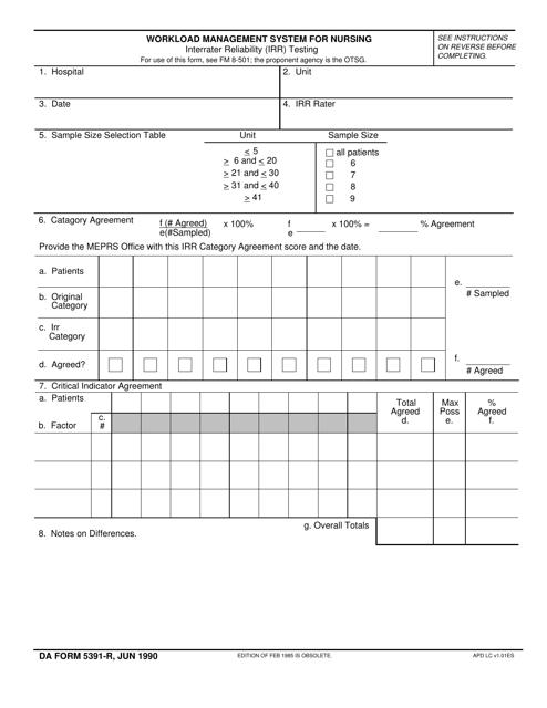 DA Form 5391-r Download Fillable PDF, Workload Management