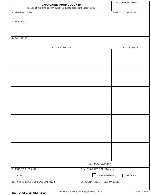 DA Form 5766 Fillable Pdf