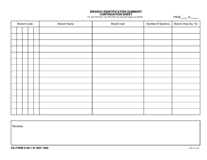 DA Form 5149-1-r  Fillable Pdf