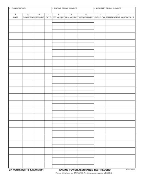 DA Form 2408-19-4 Fillable Pdf