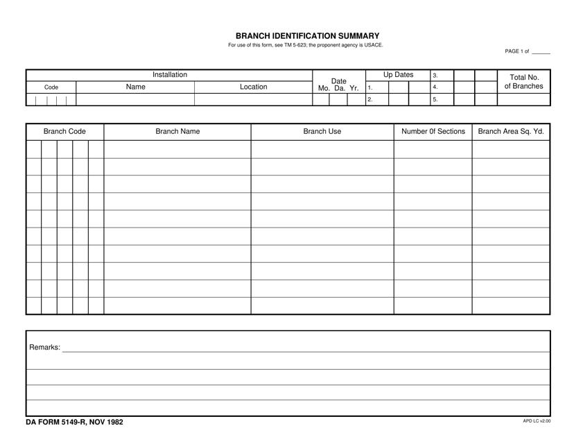 DA Form 5149-r Printable Pdf