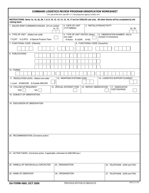DA Form 4965  Fillable Pdf
